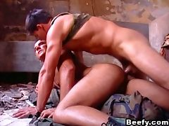 Hunk gay soldier fucking with boyfriend