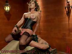 Blonde Dominatrix Ties Up Poor Male Slave