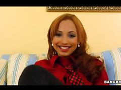 Insanely Hot Redhead Latina Masturbates in Lingerie