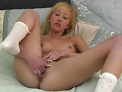 Blonde Alice K is masturbating her cute little twat