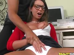Cute nerd laid by a big cock