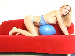 Blonde Babe Allison Pierce Plays With A Balloon