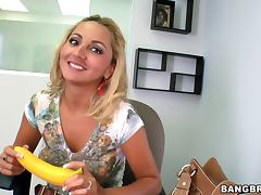 Horny blondy babe gets naughty in the office sucks and fucks a hard cock