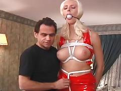 Bleach blonde in latex tied
