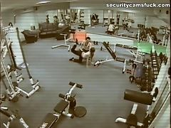 Threesome banging in the gym watching themselves in bunch of the mirrors around