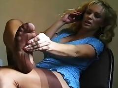 Big boobs blonde in sexy tan stockings