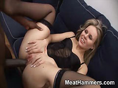 Hot blonde takes a big cock up her ass