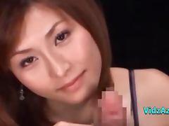 Asian Girl Giving Slow Handjob For Guy Licking Semen From Fingers On The Bed