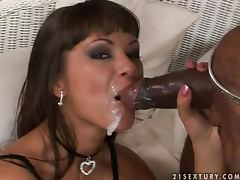 Anal sweetheart in fishnet Angelina Crow enjoys two men