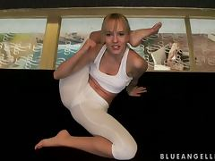 Lovely Blue Angel Showing How To Be As Flexible As Her