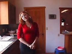 Playful curly chick sucks big black cock in the kitchen