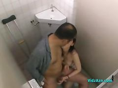 Nurse Sucking Patient Jerking Off His Cock In The Toilette