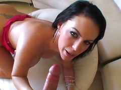 Brunette Jenna Presley is licking balls