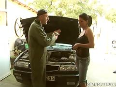 The Old Mechanic Gets Lucky By Getting A Hot Teen