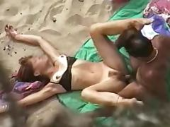 Mature slut gets her hairy pussy banged on a beach