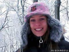 Wintertime fun with a smoking hot Blue Angel