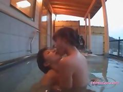 2 Asian Girls Kissing Fingering Pussies In The Pool On The Hotel Balcony