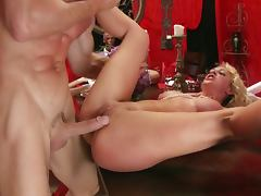 Blonde cherie deville slammed by johnny's stick