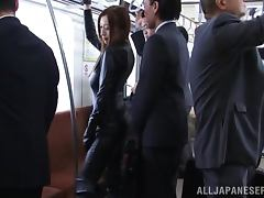 Stunning Japanese girl in latex gets fucked in a train