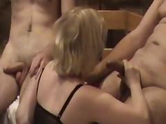 Russian Blonde Slut Wife Gang Bang