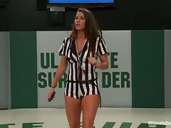 Sexy chicks fight in a ring and finger each others pussies