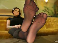 Hot Christy Mack gives nice footjob and rides a dick