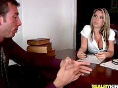 Curvaceous Courtney Cummz rides a dick in an office
