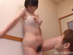 Japanese mom Chiaki Takeshi blows and gets fucked from behind
