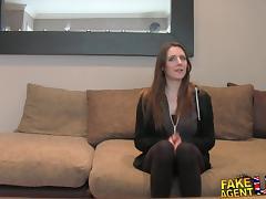 FakeAgentUK: Posh young British girl gets anal creampie casting