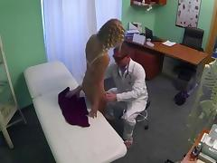 Curly blonde pussy licked in a fake hospital