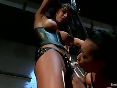 Hanging Brunette Skin Diamond Strapon Fucked by Gia Dimarco in BDSM Vid