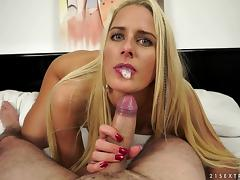Nasty Chelsey Lanette fingers herself and blows a dick