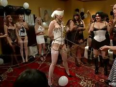 Redhead Justine Joli gets tied up and toyed at a birthday