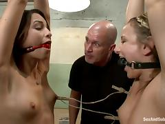 Amber Rayne and her GF get tormented and banged by Mark Davis