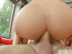 Brunette bombshell nomi gets her round ass fucked
