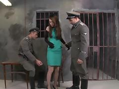 Misha Cross leman yon a handful of military guys