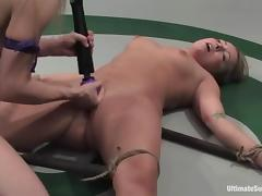 Blonde chicks in bikini finger and toy pussies in a ring