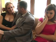 Tanya Tate and Abbie Cat share James Brossman's cock indoors