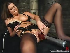 Gorgeous Sara Stone gets toyed by relentless fucking machine