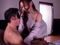 Ai Sayama sits on a blindfolded guy's head