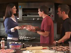 Brunette Cougar India Summer Gets A Nasty Threesome In The Kitchen