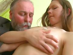 Old fucker is penetrating sensual brunette Naomi