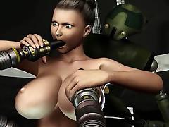 3D Animation. Robots Sex Attack