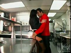 Super Hot Brunette Sydnee Steele Is Fucking In The Restaurants Kitchen