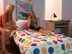 Brett Rossi and Lia Lor have hot lesbian sex in a bedroom