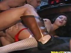 Two wild party girls have rough sex right in a night club