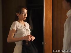 Shiho lets a man toy her pussy through the hole in her pantyhose