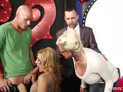 Jennifer Best ends up with a mouthful of semen after a hard fuck