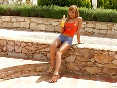Outdoors solo scene with Nevena and her two dildos