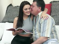 Brunette milf Dominica Fox jumps on a cock after sucking it devotedly